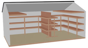 pine creek structures interior options including the organizer package with lofts and shelving